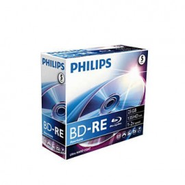DVD BD RE Blu-Ray Philips 25GB 2X Jewell Case 5 (Regravavel)